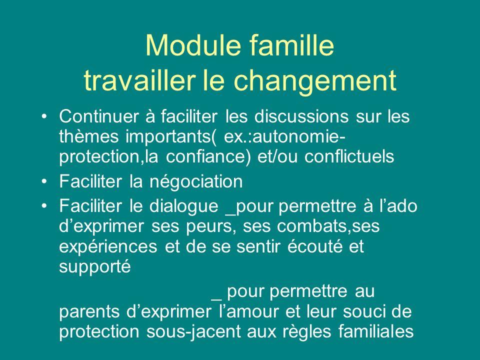 Module famille travailler le changement Continuer à faciliter les discussions sur les thèmes importants( ex.:autonomie- protection,la confiance) et/ou
