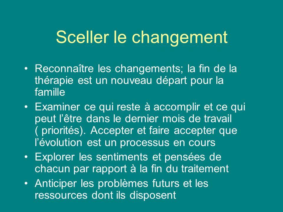 Sceller le changement Reconnaître les changements; la fin de la thérapie est un nouveau départ pour la famille Examiner ce qui reste à accomplir et ce