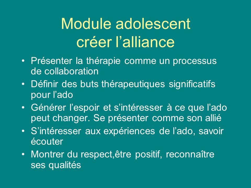 Module adolescent créer lalliance Présenter la thérapie comme un processus de collaboration Définir des buts thérapeutiques significatifs pour lado Gé