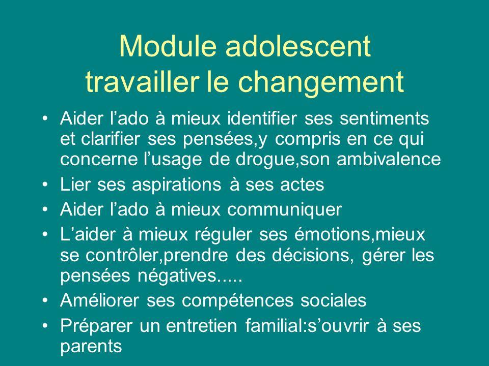 Module adolescent travailler le changement Aider lado à mieux identifier ses sentiments et clarifier ses pensées,y compris en ce qui concerne lusage d