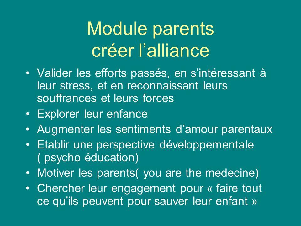 Module parents créer lalliance Valider les efforts passés, en sintéressant à leur stress, et en reconnaissant leurs souffrances et leurs forces Explor