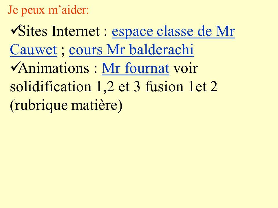 Je peux maider: Sites Internet : espace classe de Mr Cauwet ; cours Mr balderachiespace classe de Mr Cauwetcours Mr balderachi Animations : Mr fournat voir solidification 1,2 et 3 fusion 1et 2 (rubrique matière)Mr fournat