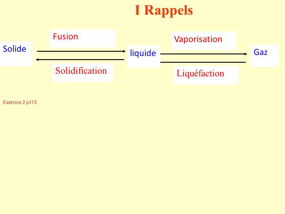 I Rappels Vaporisation Liquéfaction Fusion Solidification Solide liquide Gaz Exercice 2 p115