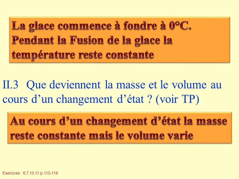 II.3Que deviennent la masse et le volume au cours dun changement détat .