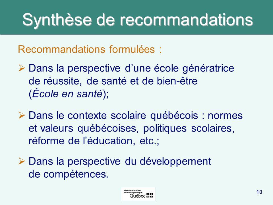 Synthèse de recommandations Recommandations formulées : Dans la perspective dune école génératrice de réussite, de santé et de bien-être (École en san