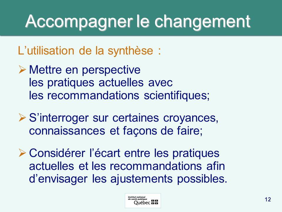 Accompagner le changement Lutilisation de la synthèse : Mettre en perspective les pratiques actuelles avec les recommandations scientifiques; Sinterro