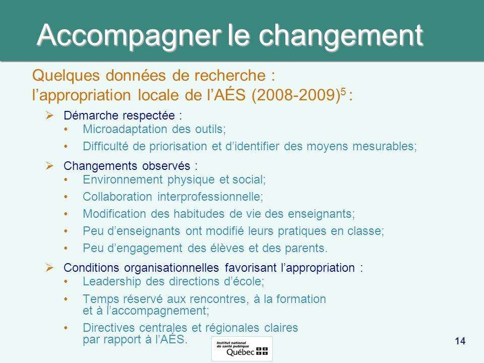 Accompagner le changement Démarche respectée : Microadaptation des outils; Difficulté de priorisation et didentifier des moyens mesurables; Changement