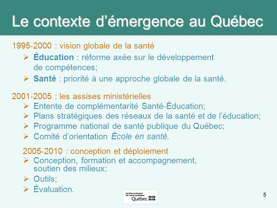La structure québécoise CENTRAL MINISTÈRES ÉDUCATION ET SANTÉ Orientations, mandats, coordination INSTITUT NATIONAL DE SANTÉ PUBLIQUE DU QUÉBEC Développement, soutien, formation, évaluation RÉGIONAL Répondants régionaux santé (18) et éducation (11) Soutien, réseautage, formation TERRITORIAL 72 commissions scolaires 120 accompagnateurs 95 centres de santé et de services sociaux 200 accompagnateurs Soutien et accompagnement des écoles LOCAL (écoles) 2944 écoles publiques 1025 Écoles en santé Sensibilisation, portrait, priorités, actions, évaluation 6