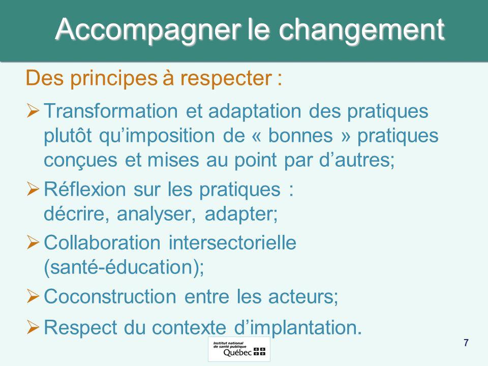 Accompagner le changement Des principes à respecter : Transformation et adaptation des pratiques plutôt quimposition de « bonnes » pratiques conçues e