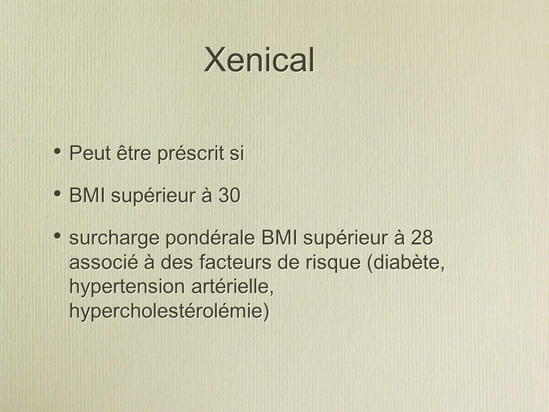 Xenical Peut être préscrit si BMI supérieur à 30 surcharge pondérale BMI supérieur à 28 associé à des facteurs de risque (diabète, hypertension artérielle, hypercholestérolémie) Peut être préscrit si BMI supérieur à 30 surcharge pondérale BMI supérieur à 28 associé à des facteurs de risque (diabète, hypertension artérielle, hypercholestérolémie)