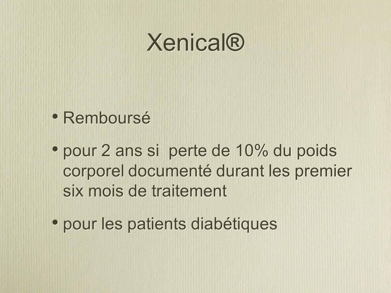 Xenical® Remboursé pour 2 ans si perte de 10% du poids corporel documenté durant les premier six mois de traitement pour les patients diabétiques Remboursé pour 2 ans si perte de 10% du poids corporel documenté durant les premier six mois de traitement pour les patients diabétiques