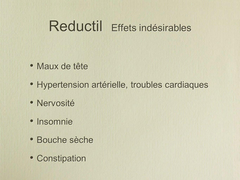 Reductil Effets indésirables Maux de tête Hypertension artérielle, troubles cardiaques Nervosité Insomnie Bouche sèche Constipation Maux de tête Hyper