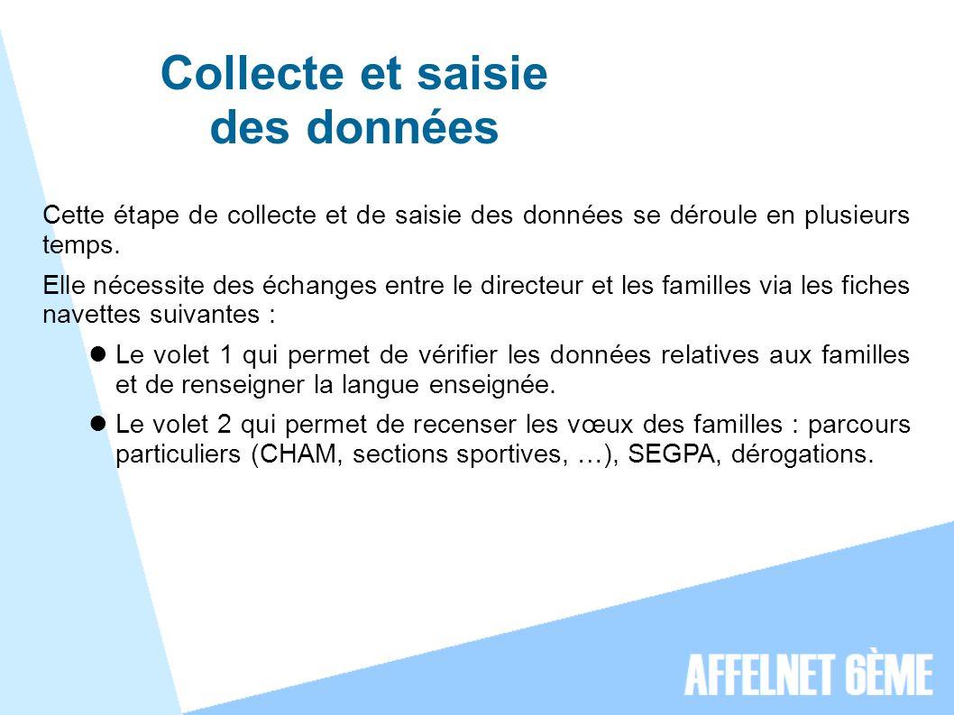 Collecte et saisie des données Cette étape de collecte et de saisie des données se déroule en plusieurs temps.