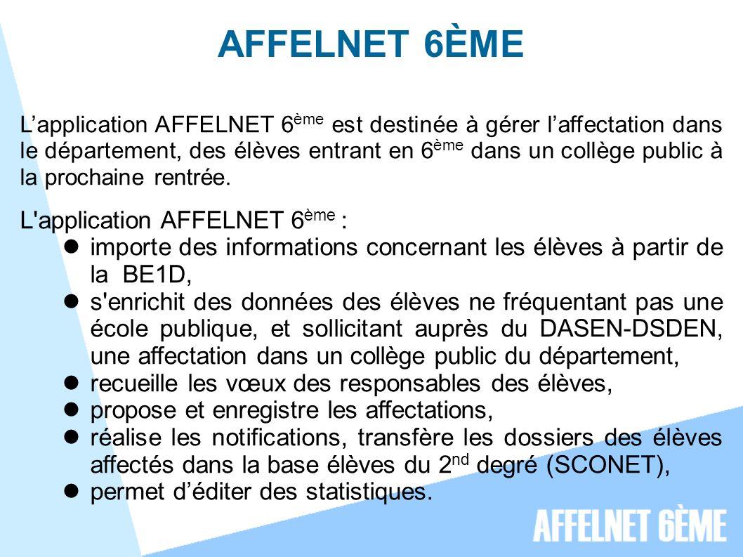 AFFELNET 6ÈME Lapplication AFFELNET 6 ème est destinée à gérer laffectation dans le département, des élèves entrant en 6 ème dans un collège public à la prochaine rentrée.