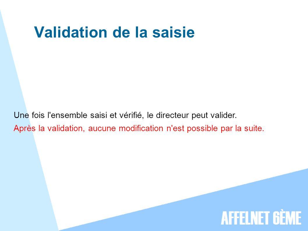 Validation de la saisie Une fois l ensemble saisi et vérifié, le directeur peut valider.