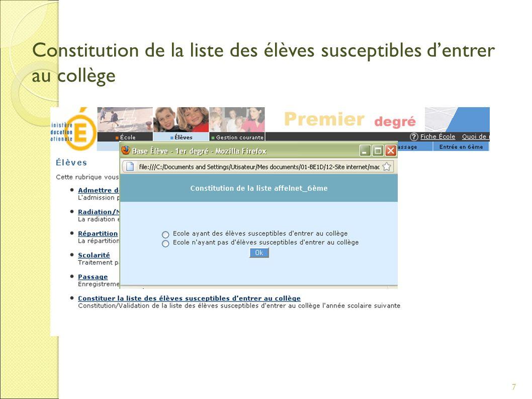 7 Constitution de la liste des élèves susceptibles dentrer au collège