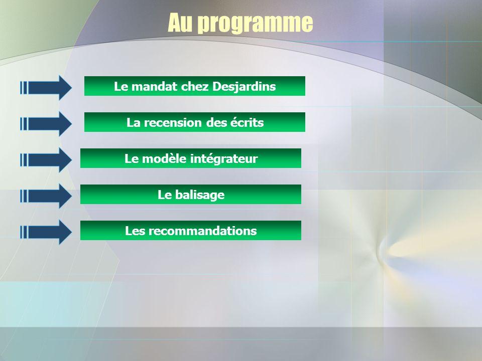 Au programme Le mandat chez Desjardins La recension des écrits Le balisage Le modèle intégrateur Les recommandations