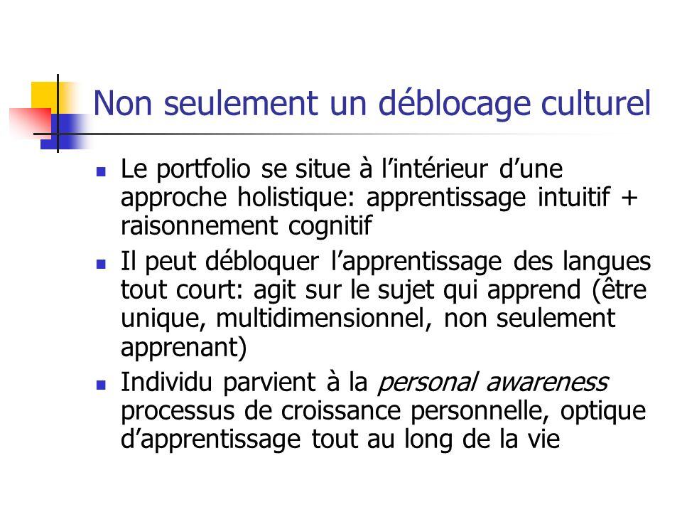 Non seulement un déblocage culturel Le portfolio se situe à lintérieur dune approche holistique: apprentissage intuitif + raisonnement cognitif Il peu