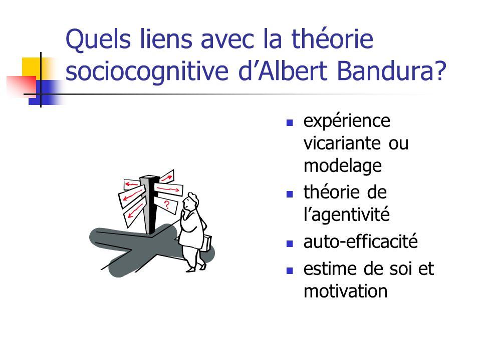 Quels liens avec la théorie sociocognitive dAlbert Bandura? expérience vicariante ou modelage théorie de lagentivité auto-efficacité estime de soi et