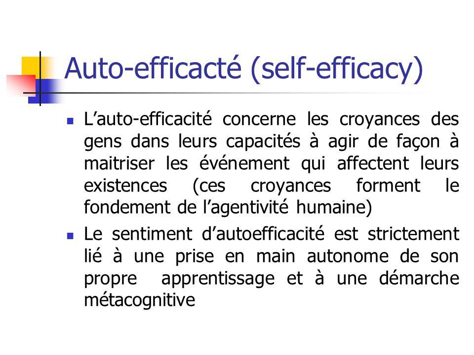 Auto-efficacté (self-efficacy) Lauto-efficacité concerne les croyances des gens dans leurs capacités à agir de façon à maitriser les événement qui aff