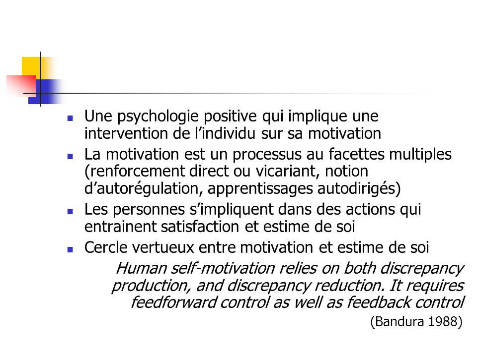 Une psychologie positive qui implique une intervention de lindividu sur sa motivation La motivation est un processus au facettes multiples (renforceme