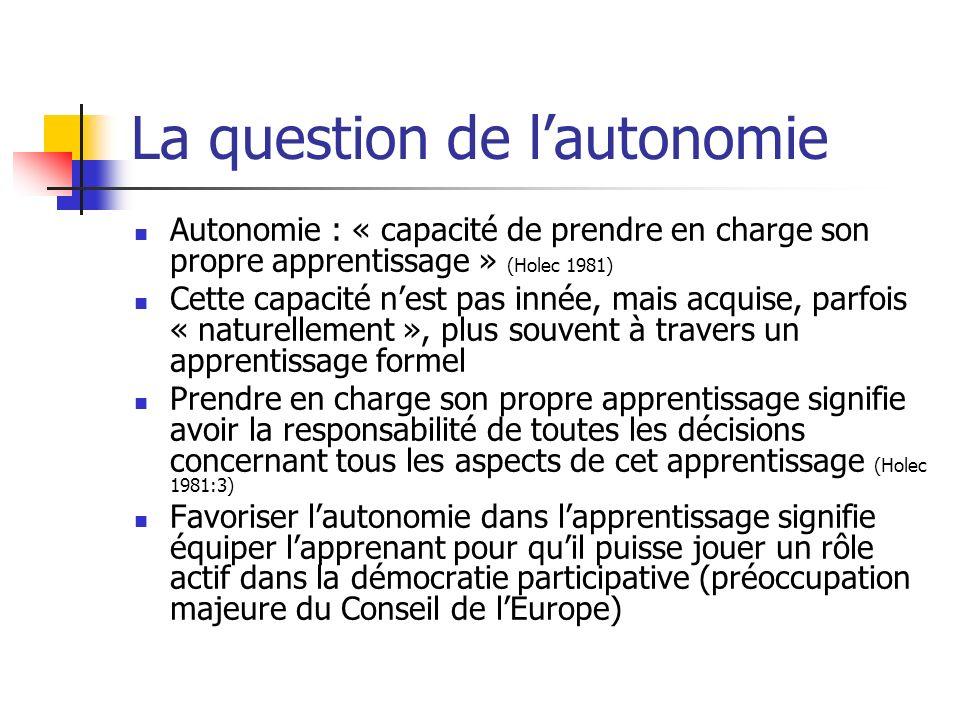 La question de lautonomie Autonomie : « capacité de prendre en charge son propre apprentissage » (Holec 1981) Cette capacité nest pas innée, mais acqu