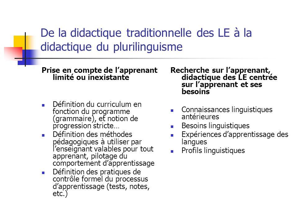De la didactique traditionnelle des LE à la didactique du plurilinguisme Prise en compte de lapprenant limité ou inexistante Définition du curriculum