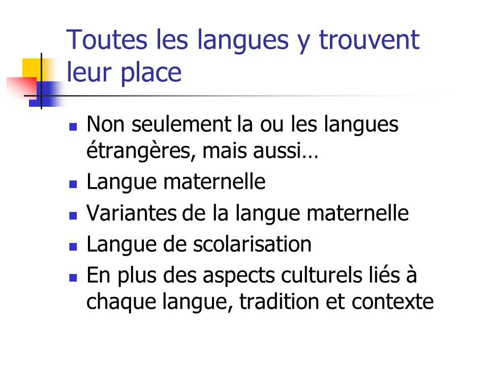 Toutes les langues y trouvent leur place Non seulement la ou les langues étrangères, mais aussi… Langue maternelle Variantes de la langue maternelle L