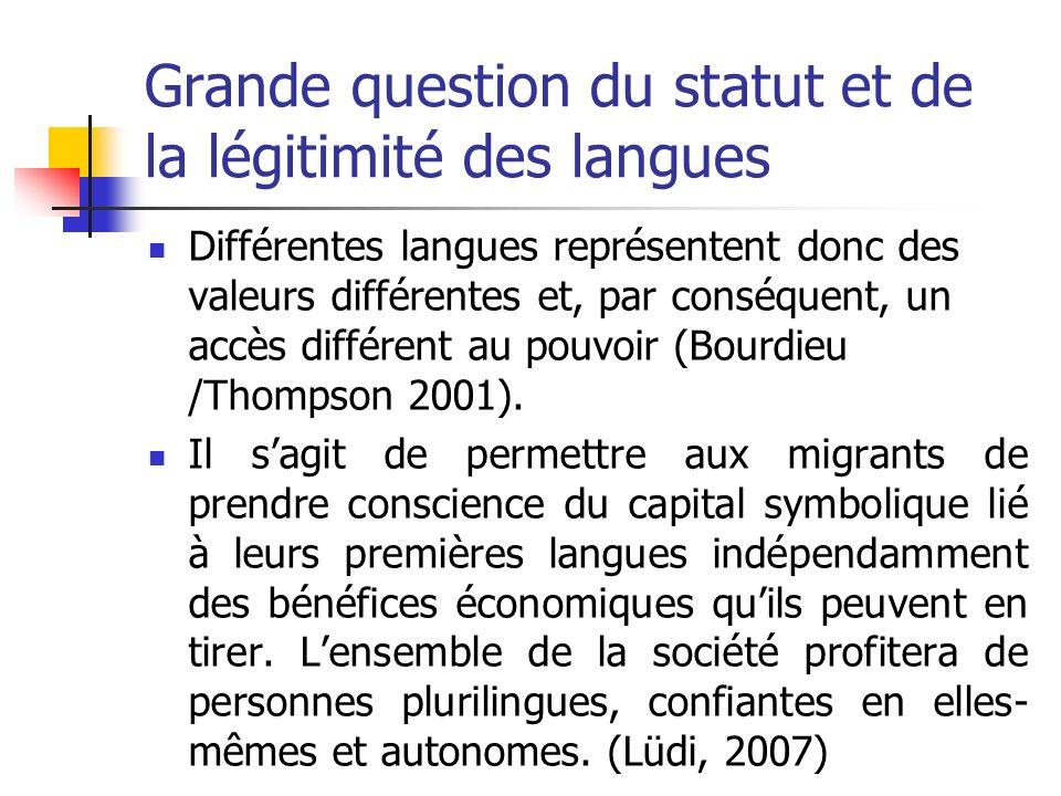 Grande question du statut et de la légitimité des langues Différentes langues représentent donc des valeurs différentes et, par conséquent, un accès d
