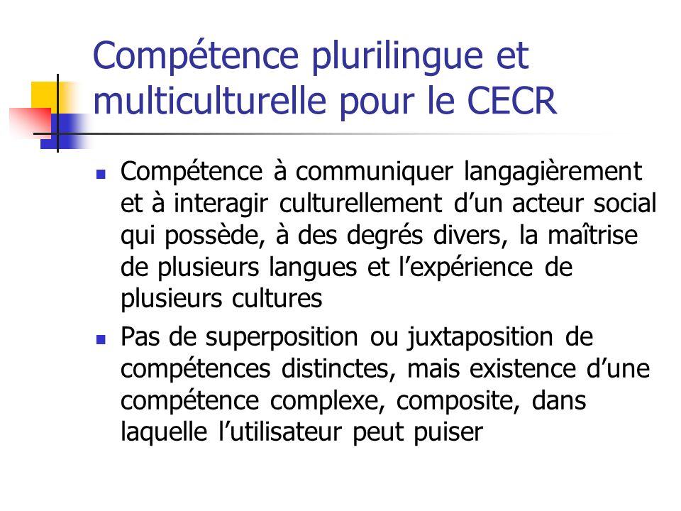 Compétence plurilingue et multiculturelle pour le CECR Compétence à communiquer langagièrement et à interagir culturellement dun acteur social qui pos