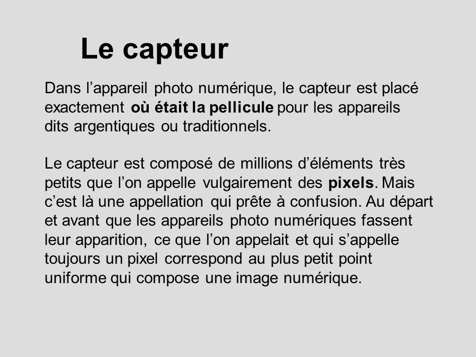 Le capteur Dans lappareil photo numérique, le capteur est placé exactement où était la pellicule pour les appareils dits argentiques ou traditionnels.