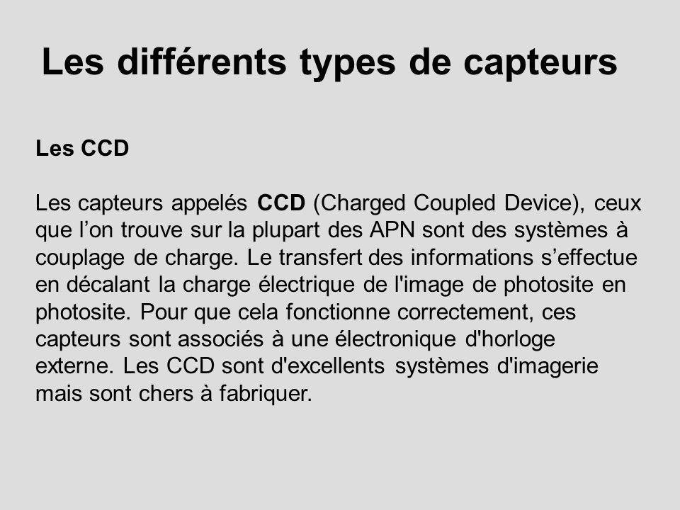 Les différents types de capteurs Les CCD Les capteurs appelés CCD (Charged Coupled Device), ceux que lon trouve sur la plupart des APN sont des systèm