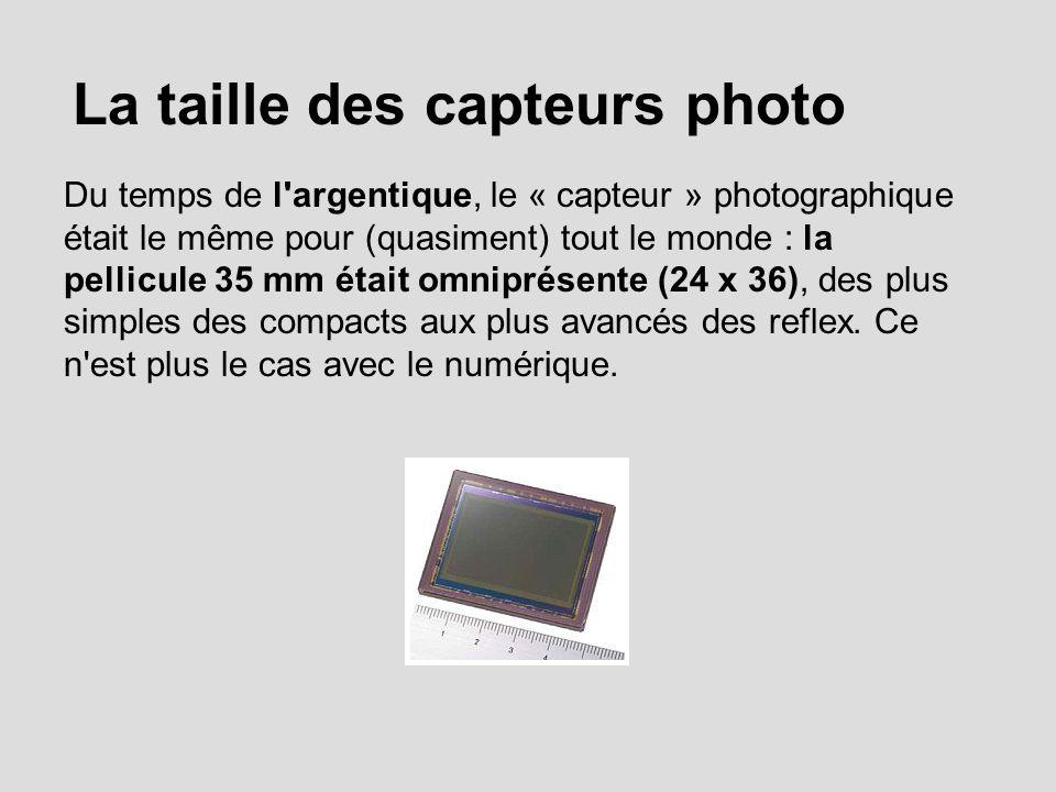 La taille des capteurs photo Du temps de l argentique, le « capteur » photographique était le même pour (quasiment) tout le monde : la pellicule 35 mm était omniprésente (24 x 36), des plus simples des compacts aux plus avancés des reflex.