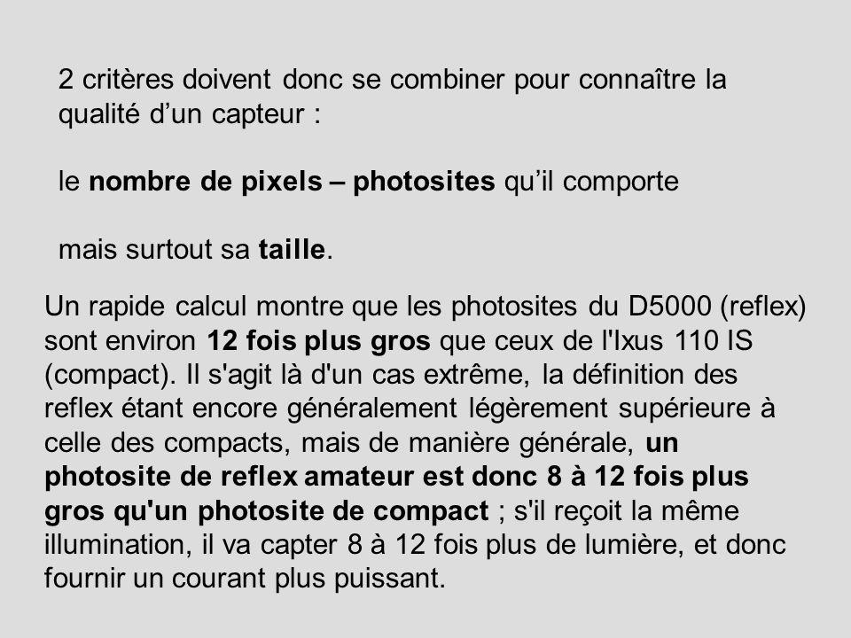2 critères doivent donc se combiner pour connaître la qualité dun capteur : le nombre de pixels – photosites quil comporte mais surtout sa taille. Un