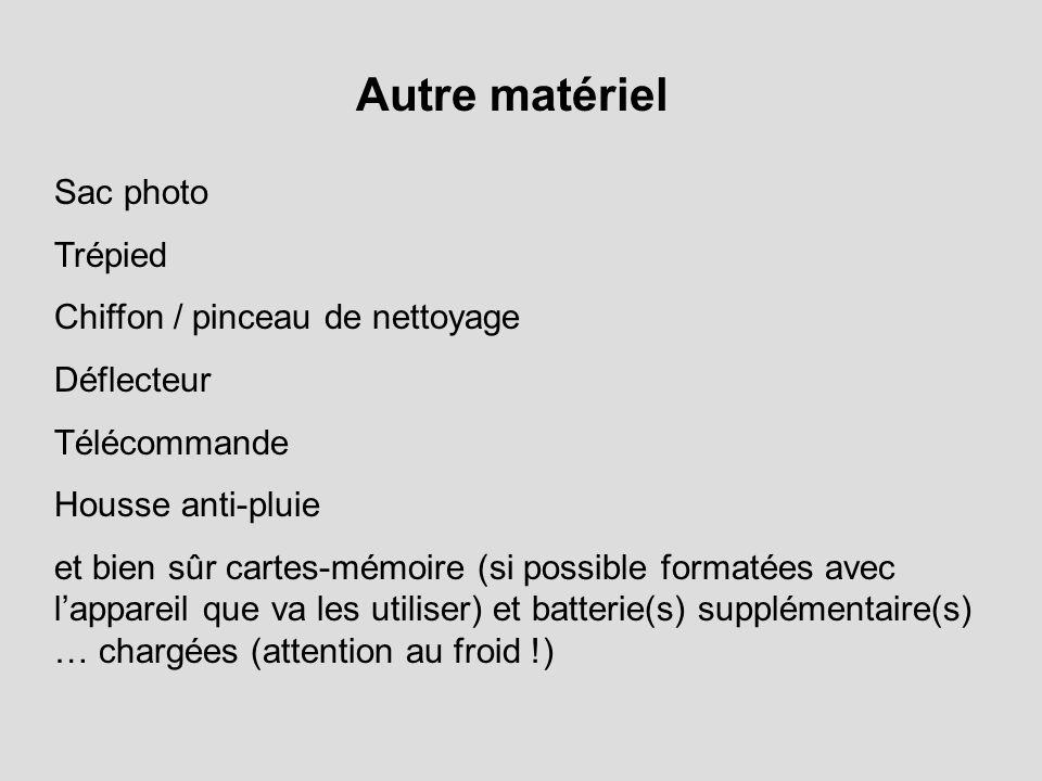 Autre matériel Sac photo Trépied Chiffon / pinceau de nettoyage Déflecteur Télécommande Housse anti-pluie et bien sûr cartes-mémoire (si possible form