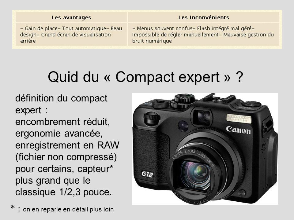 Quid du « Compact expert » ? définition du compact expert : encombrement réduit, ergonomie avancée, enregistrement en RAW (fichier non compressé) pour