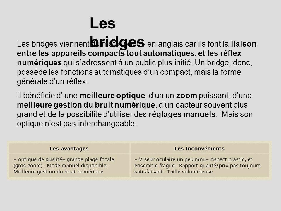 Les bridges Les bridges viennent du mot « pont » en anglais car ils font la liaison entre les appareils compacts tout automatiques, et les réflex numériques qui sadressent à un public plus initié.