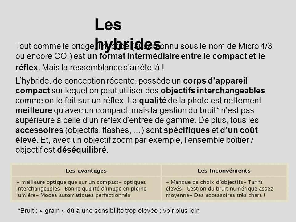 Les hybrides Tout comme le bridge, lhybride (aussi connu sous le nom de Micro 4/3 ou encore COI) est un format intermédiaire entre le compact et le réflex.