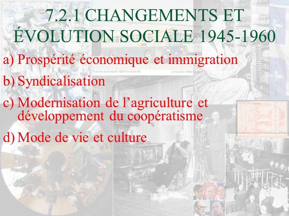 7.2.1 CHANGEMENTS ET ÉVOLUTION SOCIALE 1945-1960 a)Prospérité économique et immigration b)Syndicalisation c)Modernisation de lagriculture et développe