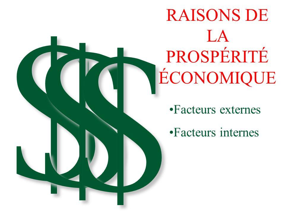 $ $ $ RAISONS DE LA PROSPÉRITÉ ÉCONOMIQUE Facteurs externes Facteurs internes