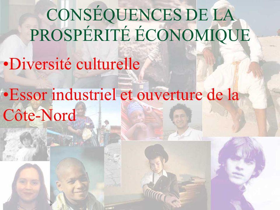 CONSÉQUENCES DE LA PROSPÉRITÉ ÉCONOMIQUE Diversité culturelle Essor industriel et ouverture de la Côte-Nord