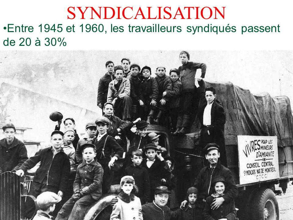 SYNDICALISATION Entre 1945 et 1960, les travailleurs syndiqués passent de 20 à 30%