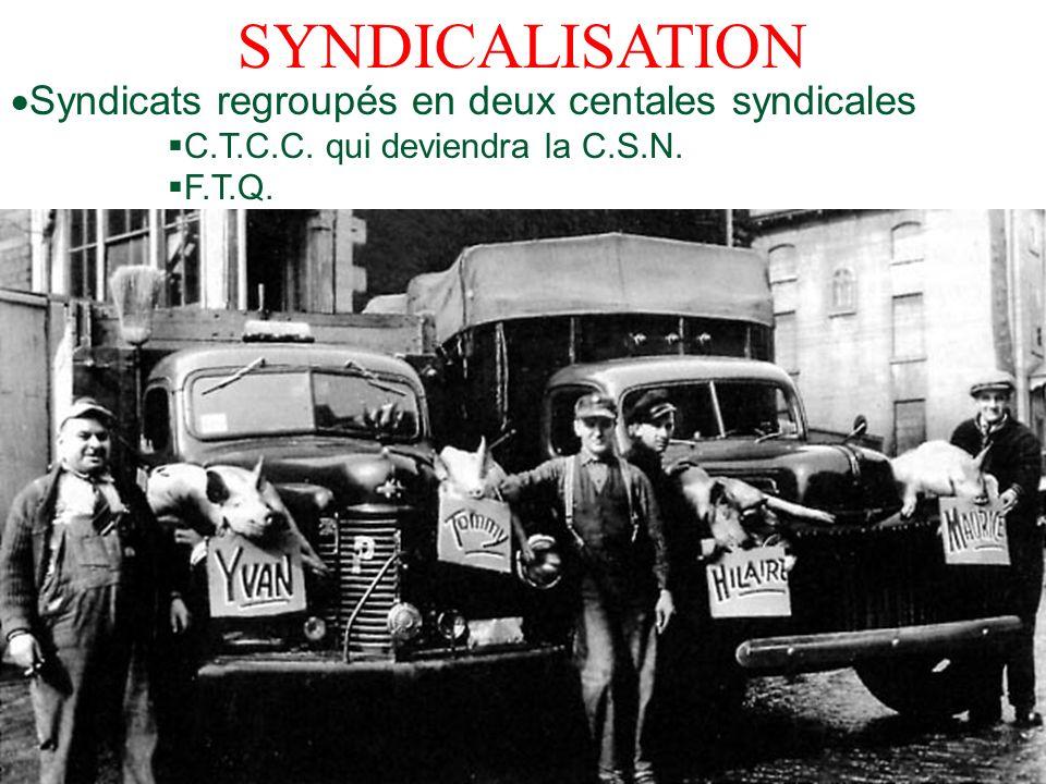 SYNDICALISATION Syndicats regroupés en deux centales syndicales C.T.C.C. qui deviendra la C.S.N. F.T.Q.