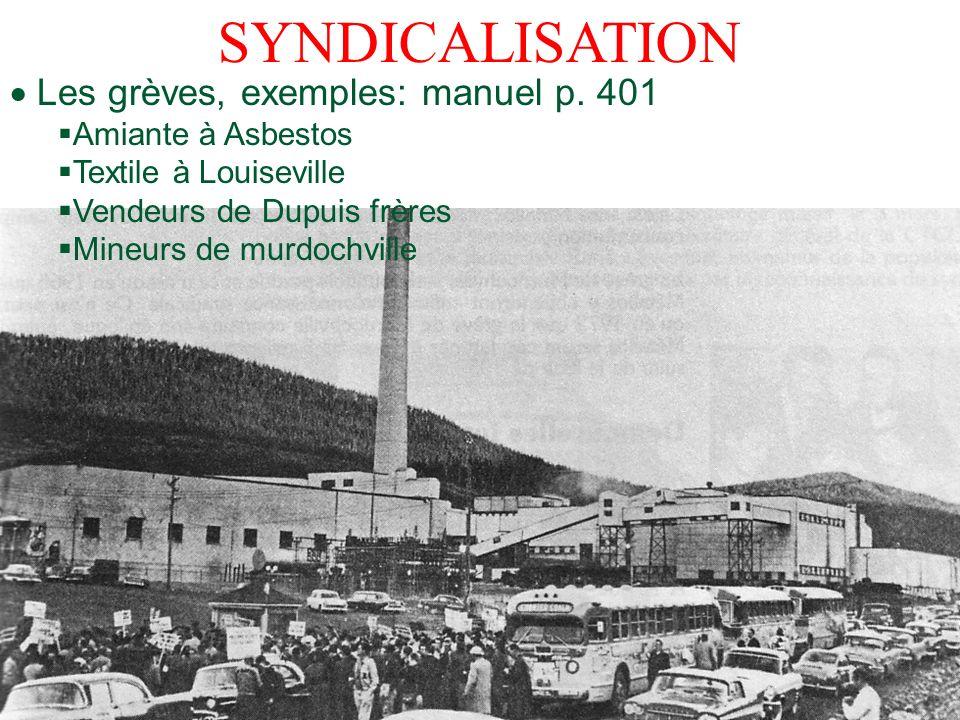 SYNDICALISATION Les grèves, exemples: manuel p. 401 Amiante à Asbestos Textile à Louiseville Vendeurs de Dupuis frères Mineurs de murdochville