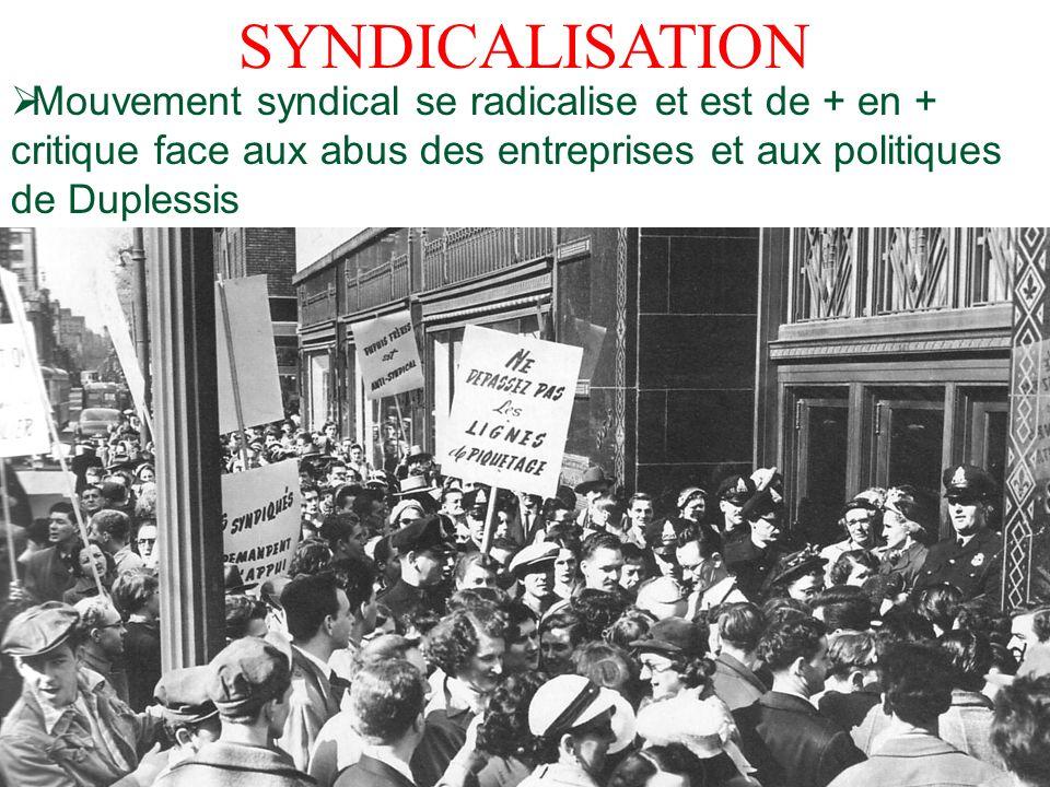 SYNDICALISATION Mouvement syndical se radicalise et est de + en + critique face aux abus des entreprises et aux politiques de Duplessis