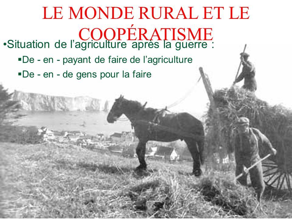 LE MONDE RURAL ET LE COOPÉRATISME Situation de lagriculture après la guerre : De - en - payant de faire de lagriculture De - en - de gens pour la fair
