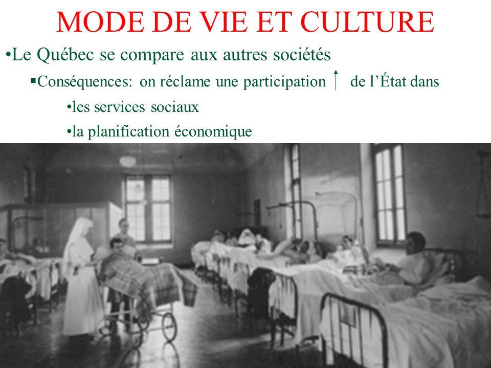Le Québec se compare aux autres sociétés Conséquences: on réclame une participation de lÉtat dans les services sociaux la planification économique