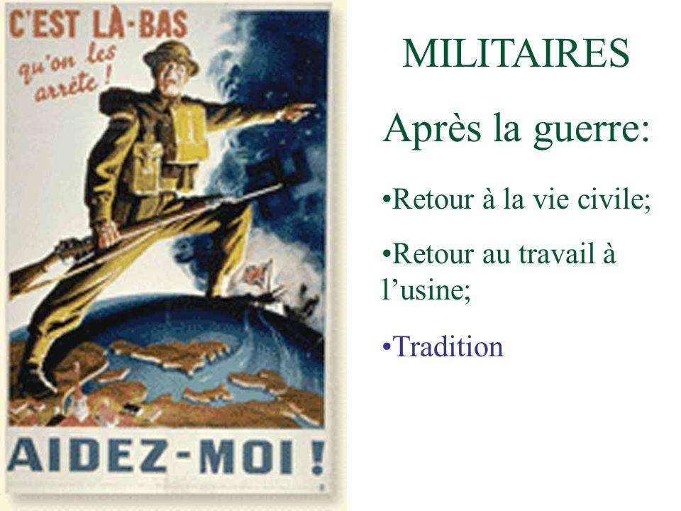 MILITAIRES Après la guerre: Retour à la vie civile; Retour au travail à lusine; Tradition