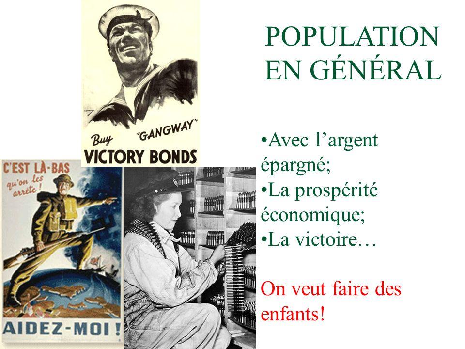 POPULATION EN GÉNÉRAL Avec largent épargné; La prospérité économique; La victoire… On veut faire des enfants!