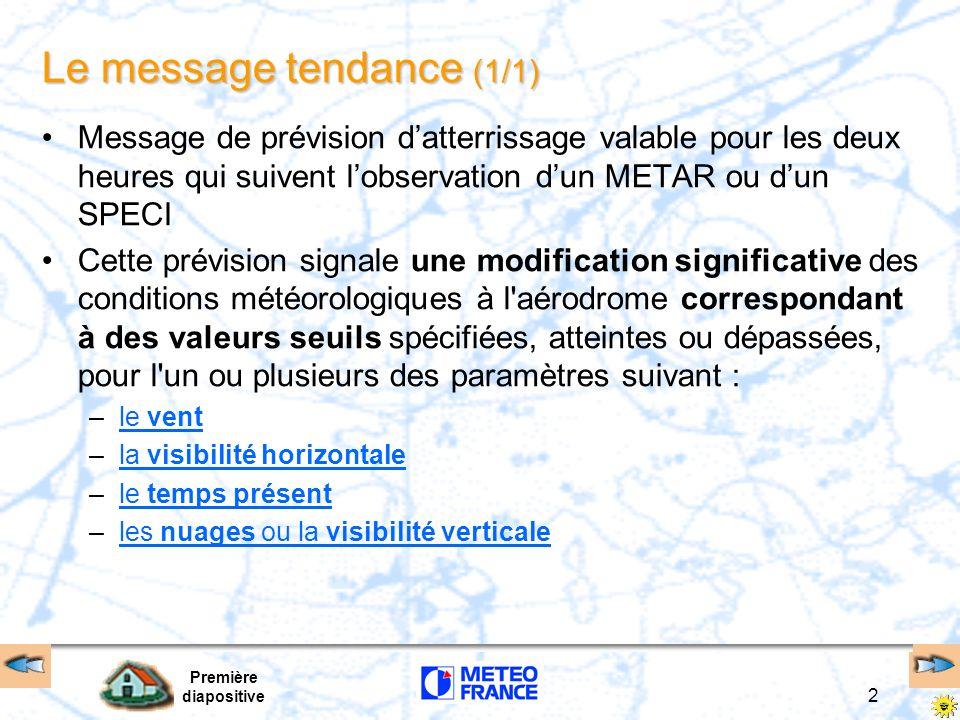 BECMG TL …TEMPO TL Retour BECMG TLHHMM –indicateur de l heure UTC de fin d évolution (TILL), le ou les paramètres météorologiques devenant alors...